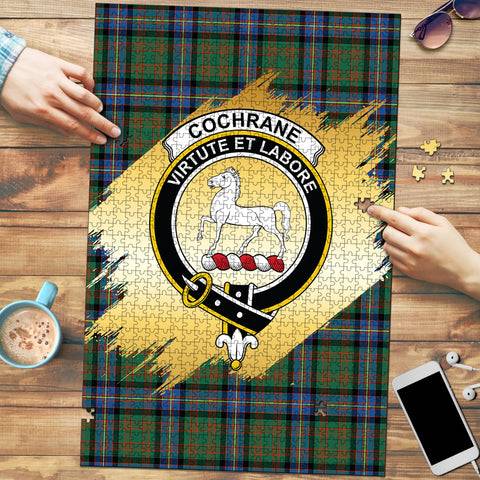 Image of Cochrane Ancient Clan Crest Tartan Jigsaw Puzzle Gold