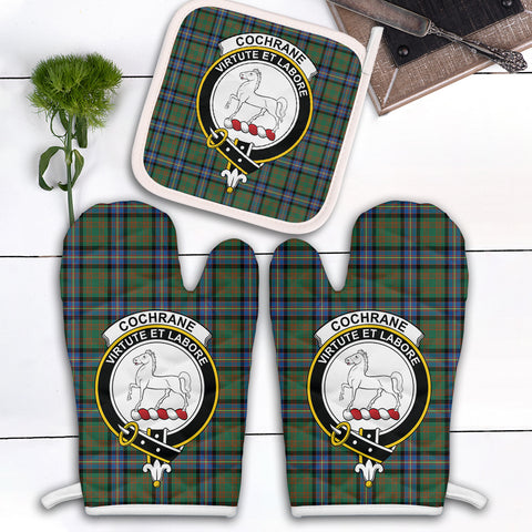 Image of Cochrane Ancient Clan Crest Tartan Scotland Oven Mitt And Pot-Holder (Set Of Two)