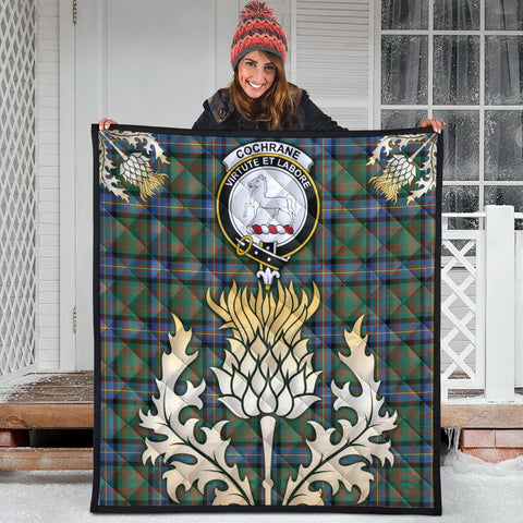 Image of Cochrane Ancient Clan Crest Tartan Scotland Thistle Gold Royal Premium Quilt