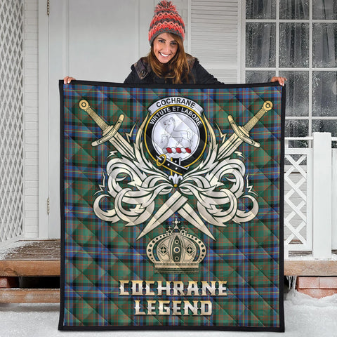 Image of Cochrane Ancient Clan Crest Tartan Scotland Clan Legend Gold Royal Premium Quilt