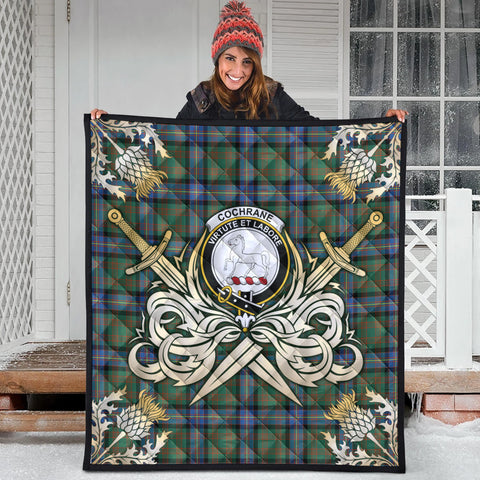 Image of Cochrane Ancient Clan Crest Tartan Scotland Thistle Symbol Gold Royal Premium Quilt