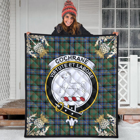 Cochrane Ancient Clan Crest Tartan Scotland Thistle Gold Pattern Premium Quilt