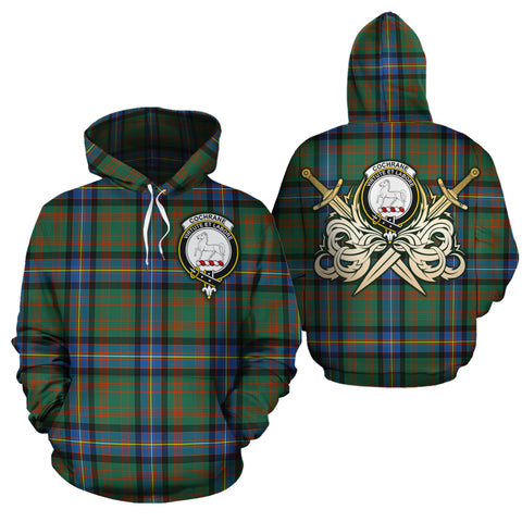Cochrane Ancient Clan Crest Tartan Scottish Gold Thistle Hoodie