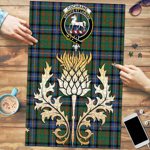 Image of Cochrane Ancient Clan Crest Tartan Thistle Gold Jigsaw Puzzle