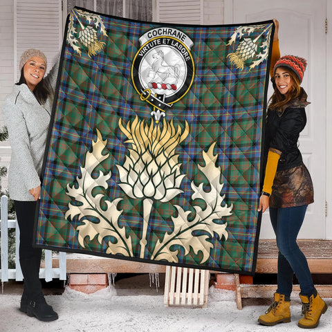 Cochrane Ancient Clan Crest Tartan Scotland Thistle Gold Royal Premium Quilt K9