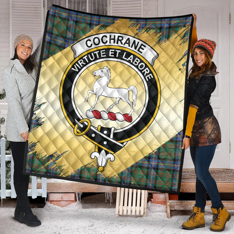 Image of Cochrane Ancient Clan Crest Tartan Scotland Gold Royal Premium Quilt K9