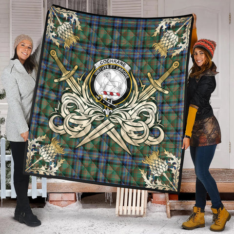 Image of Cochrane Ancient Clan Crest Tartan Scotland Thistle Symbol Gold Royal Premium Quilt K9