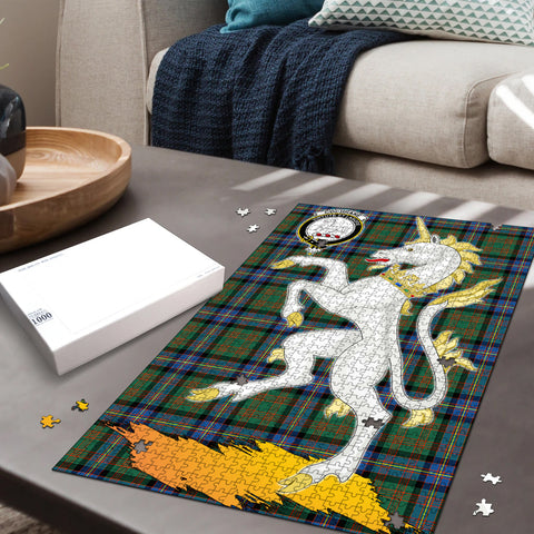 Image of Cochrane Ancient Clan Crest Tartan Unicorn Scotland Jigsaw Puzzle