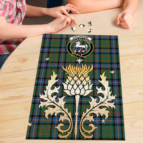Cochrane Ancient Clan Crest Tartan Thistle Gold Jigsaw Puzzle