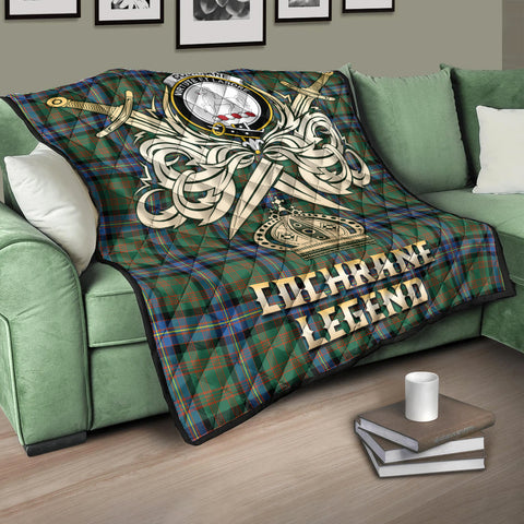 Image of Cochrane Ancient Clan Crest Tartan Scotland Clan Legend Gold Royal Premium Quilt K9