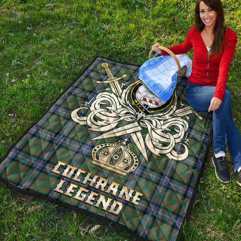 Cochrane Ancient Clan Crest Tartan Scotland Clan Legend Gold Royal Premium Quilt K9