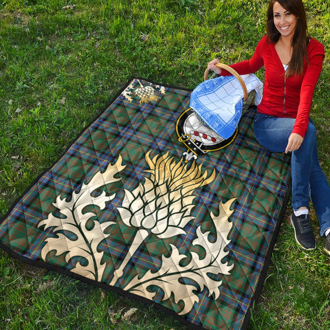 Image of Cochrane Ancient Clan Crest Tartan Scotland Thistle Gold Royal Premium Quilt K9
