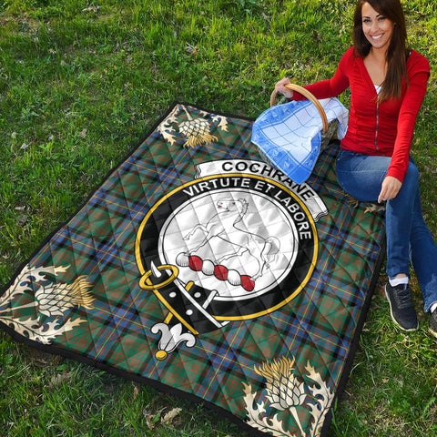 Image of Cochrane Ancient Clan Crest Tartan Scotland Thistle Gold Pattern Premium Quilt K9