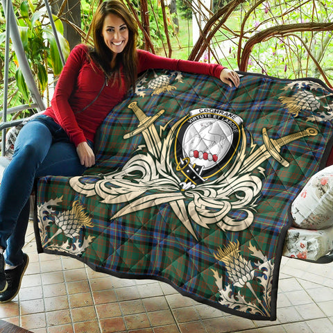 Cochrane Ancient Clan Crest Tartan Scotland Thistle Symbol Gold Royal Premium Quilt K9