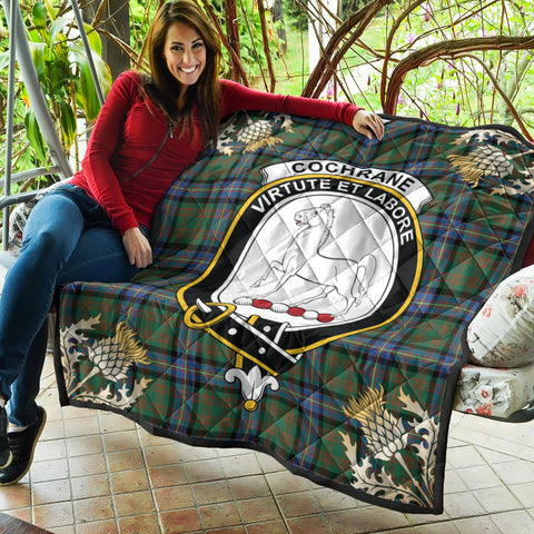 Cochrane Ancient Clan Crest Tartan Scotland Thistle Gold Pattern Premium Quilt K9
