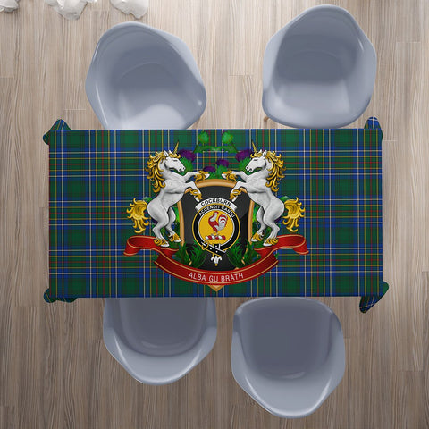 Image of Cockburn Ancient Crest Tartan Tablecloth Unicorn Thistle | Home Decor