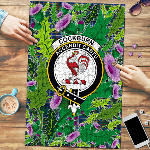 Image of Cockburn Ancient Clan Crest Tartan Thistle Pattern Scotland Jigsaw Puzzle