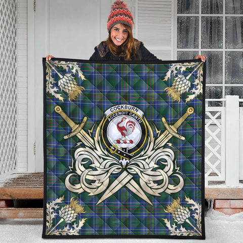 Cockburn Ancient Clan Crest Tartan Scotland Thistle Symbol Gold Royal Premium Quilt
