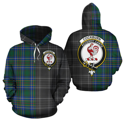 Cockburn Ancient Clan Half Of Me New Version Crest Tartan Hoodie