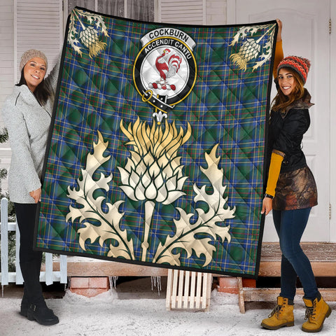 Cockburn Ancient Clan Crest Tartan Scotland Thistle Gold Royal Premium Quilt K9
