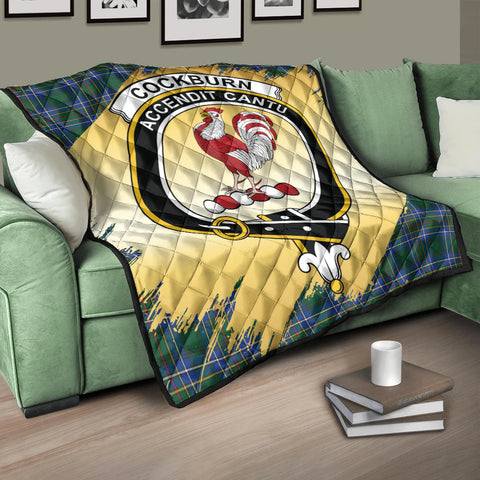 Cockburn Ancient Clan Crest Tartan Scotland Gold Royal Premium Quilt K9
