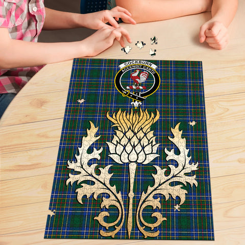 Cockburn Ancient Clan Crest Tartan Thistle Gold Jigsaw Puzzle