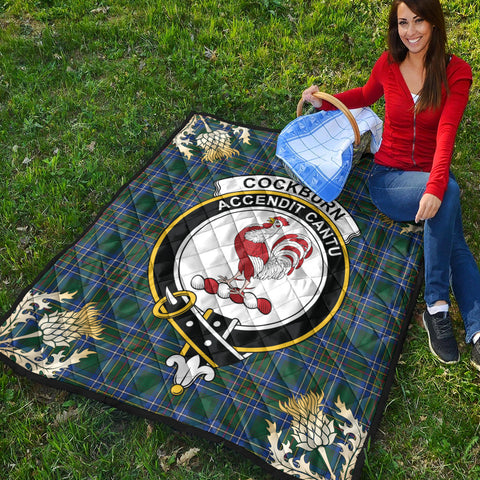 Cockburn Ancient Clan Crest Tartan Scotland Thistle Gold Pattern Premium Quilt K9