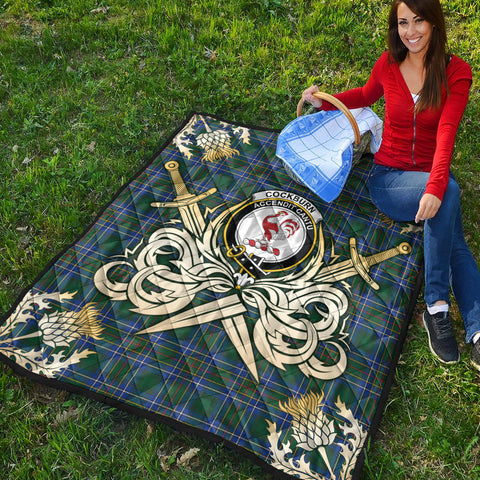 Cockburn Ancient Clan Crest Tartan Scotland Thistle Symbol Gold Royal Premium Quilt K9