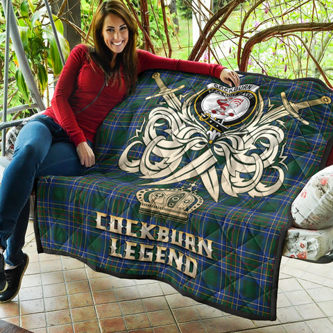 Cockburn Ancient Clan Crest Tartan Scotland Clan Legend Gold Royal Premium Quilt K9