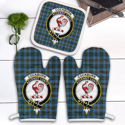Image of Cockburn Modern Clan Crest Tartan Scotland Oven Mitt And Pot-Holder (Set Of Two)