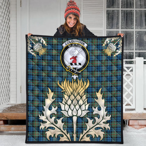 Image of Colquhoun Ancient Clan Crest Tartan Scotland Thistle Gold Royal Premium Quilt