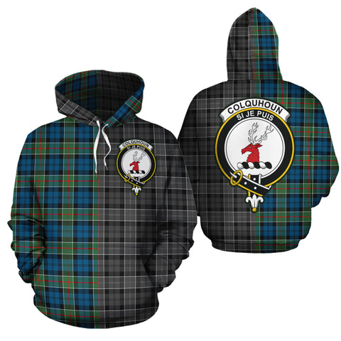 Colquhoun Ancient Clan Half Of Me New Version Crest Tartan Hoodie