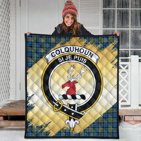 Image of Colquhoun Ancient Clan Crest Tartan Scotland Gold Royal Premium Quilt
