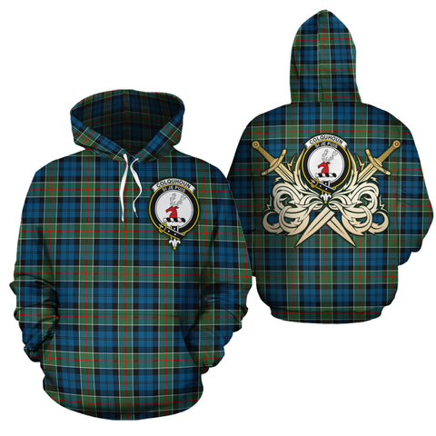 Colquhoun Ancient Clan Crest Tartan Scottish Gold Thistle Hoodie