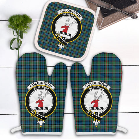 Image of Colquhoun Ancient Clan Crest Tartan Scotland Oven Mitt And Pot-Holder (Set Of Two)