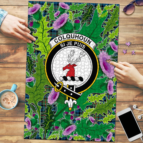 Image of Colquhoun Ancient Clan Crest Tartan Thistle Pattern Scotland Jigsaw Puzzle