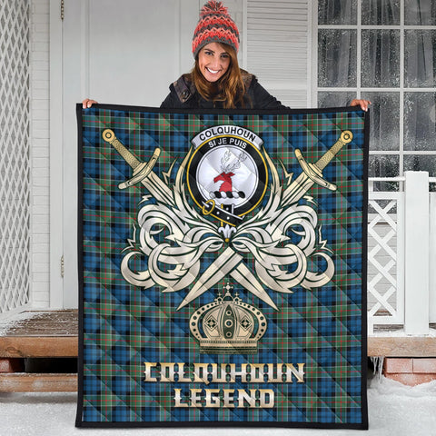 Colquhoun Ancient Clan Crest Tartan Scotland Clan Legend Gold Royal Premium Quilt