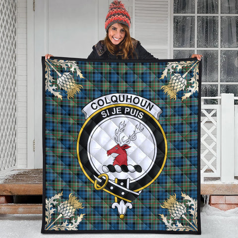 Image of Colquhoun Ancient Clan Crest Tartan Scotland Thistle Gold Pattern Premium Quilt