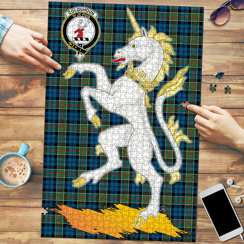 Colquhoun Ancient Clan Crest Tartan Unicorn Scotland Jigsaw Puzzle