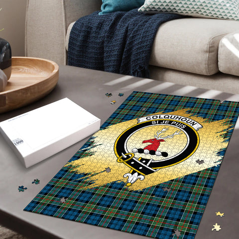 Image of Colquhoun Ancient Clan Crest Tartan Jigsaw Puzzle Gold