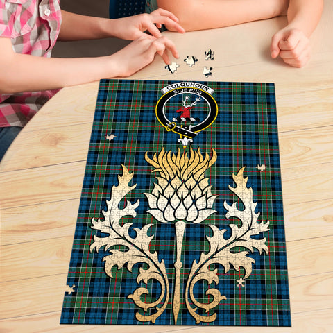 Image of Colquhoun Ancient Clan Crest Tartan Thistle Gold Jigsaw Puzzle