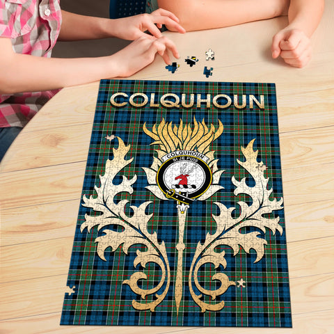Image of Colquhoun Ancient Clan Name Crest Tartan Thistle Scotland Jigsaw Puzzle
