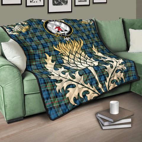 Image of Colquhoun Ancient Clan Crest Tartan Scotland Thistle Gold Royal Premium Quilt K9