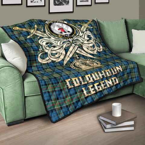 Colquhoun Ancient Clan Crest Tartan Scotland Clan Legend Gold Royal Premium Quilt K9