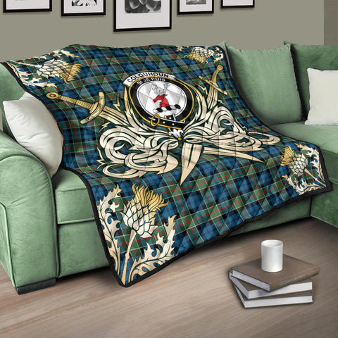 Image of Colquhoun Ancient Clan Crest Tartan Scotland Thistle Symbol Gold Royal Premium Quilt K9