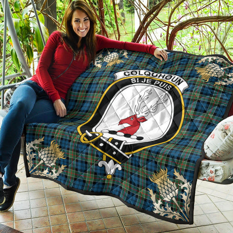 Image of Colquhoun Ancient Clan Crest Tartan Scotland Thistle Gold Pattern Premium Quilt K9