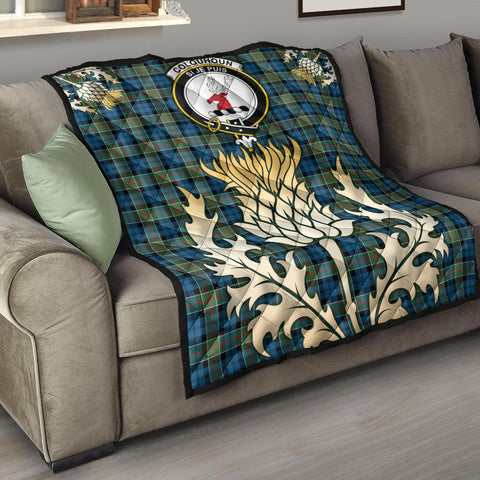 Colquhoun Ancient Clan Crest Tartan Scotland Thistle Gold Royal Premium Quilt K9
