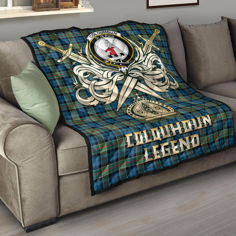 Image of Colquhoun Ancient Clan Crest Tartan Scotland Clan Legend Gold Royal Premium Quilt K9
