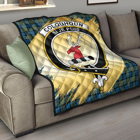 Image of Colquhoun Ancient Clan Crest Tartan Scotland Gold Royal Premium Quilt K9