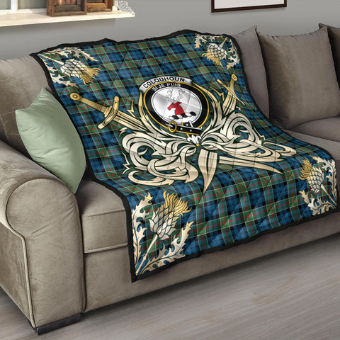 Colquhoun Ancient Clan Crest Tartan Scotland Thistle Symbol Gold Royal Premium Quilt K9